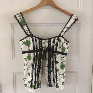 NANETTE LEPORE 🌹 embroidered corset top SZ 4